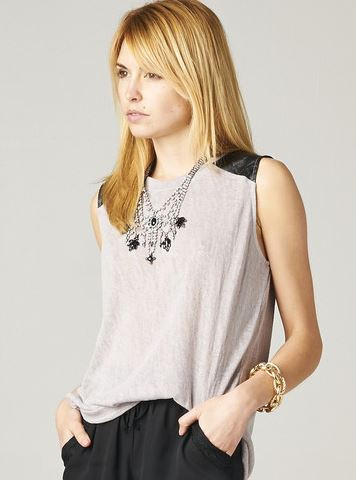 Publik Leather Quilted Gray Knit Tank