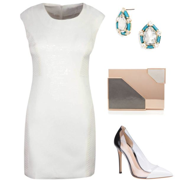 White dress with Penta studs Bauble Bar