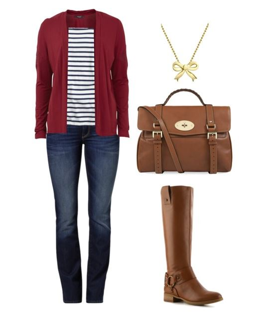 jeans and tee with boots and cardigan