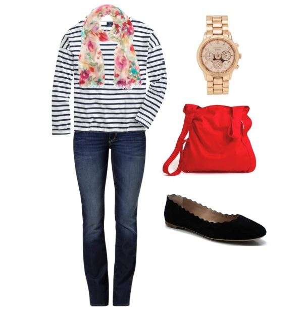jeans and tee with scarf and flats