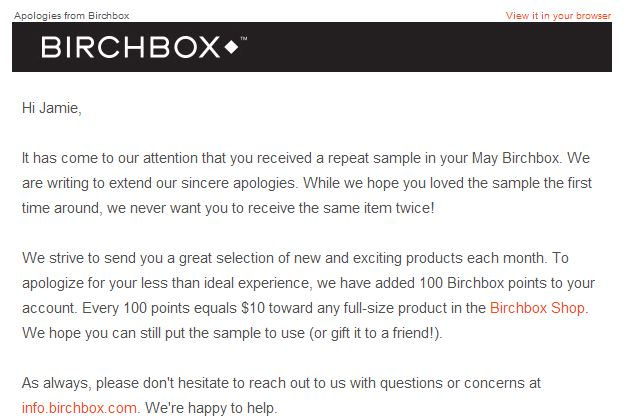 apologies from birchbox