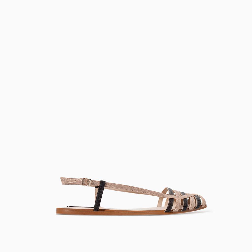 zara glitter flat sandal