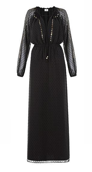 altuzarra for target maxi dress in black swiss dot