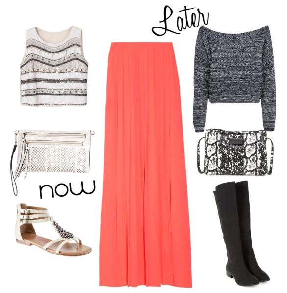 coral maxi skirt now and later