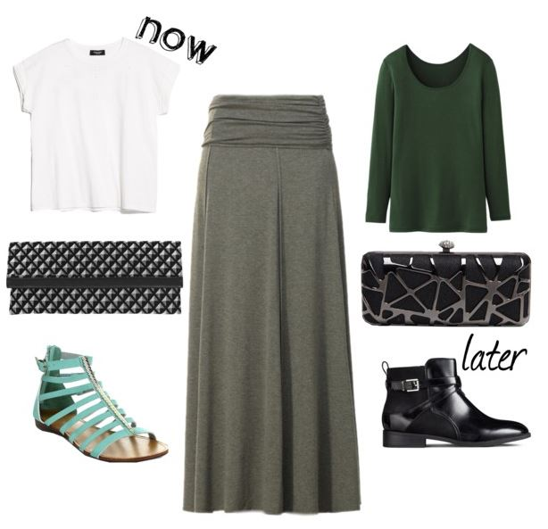 gray maxi skirt now and later