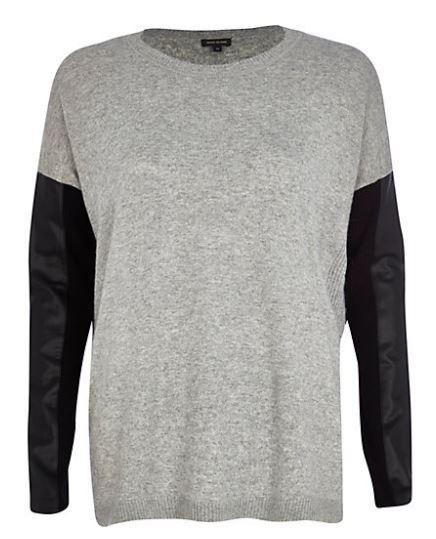 river island grey leather look sleeve sweatshirt