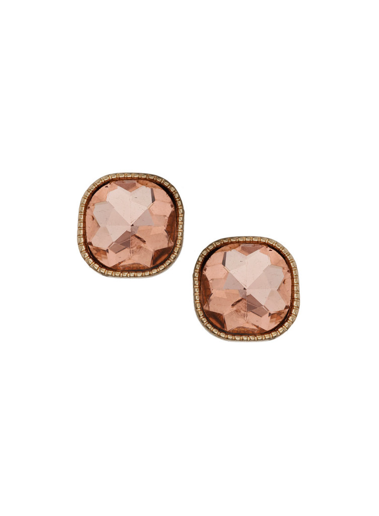 pink faceted stone studs