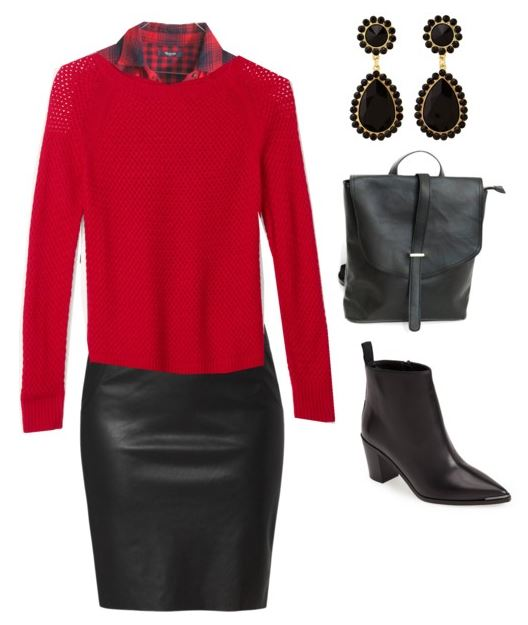 how to style a red sweater 4