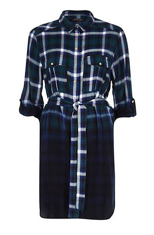 green check dip dye shirt dress