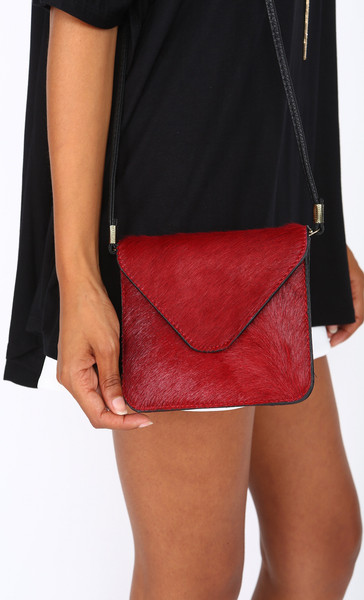 Mini Envelope Calf Hair Shoulder Bag, $45