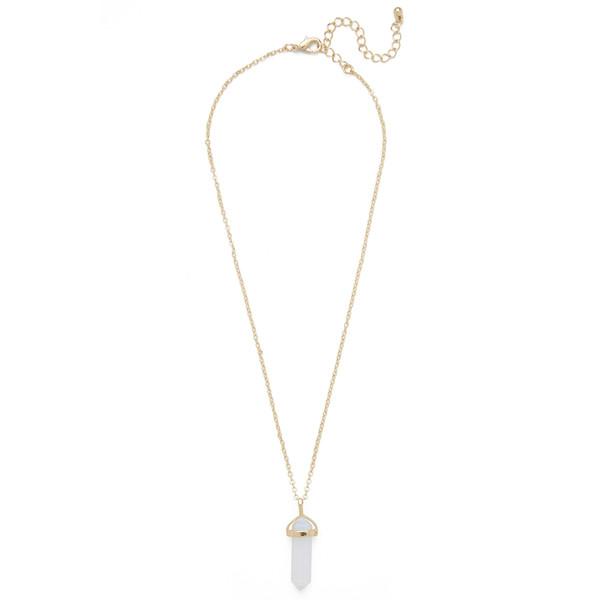 single gemstone necklace white opal