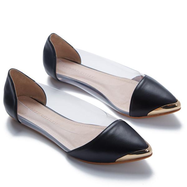 steel-toed black slippers