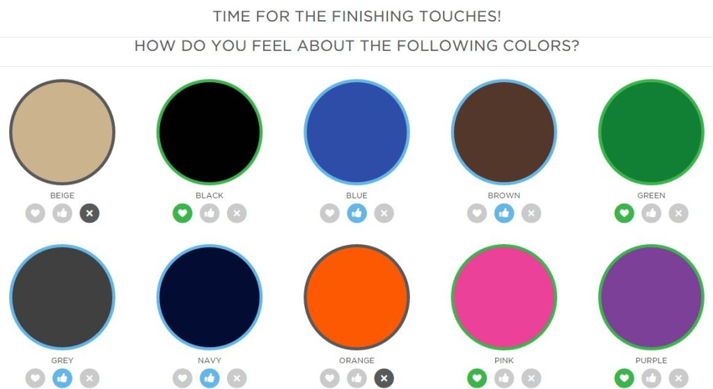 wantable color choices