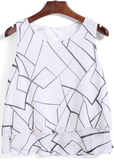shein white round neck print chiffon top