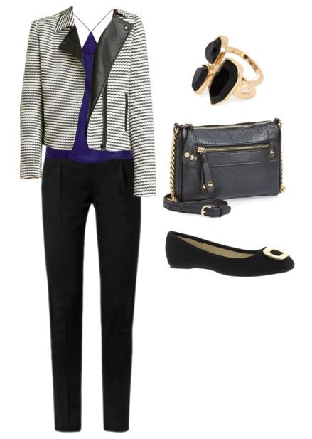 striped moto jacket outfit 1