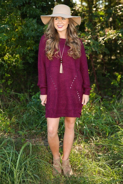 the only one sweater dress - burgundy