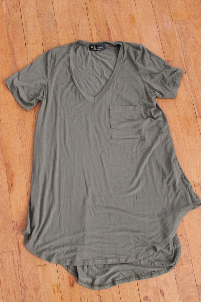 October Wantable Style Edit KLD High Low Tee with Pocket in Olive