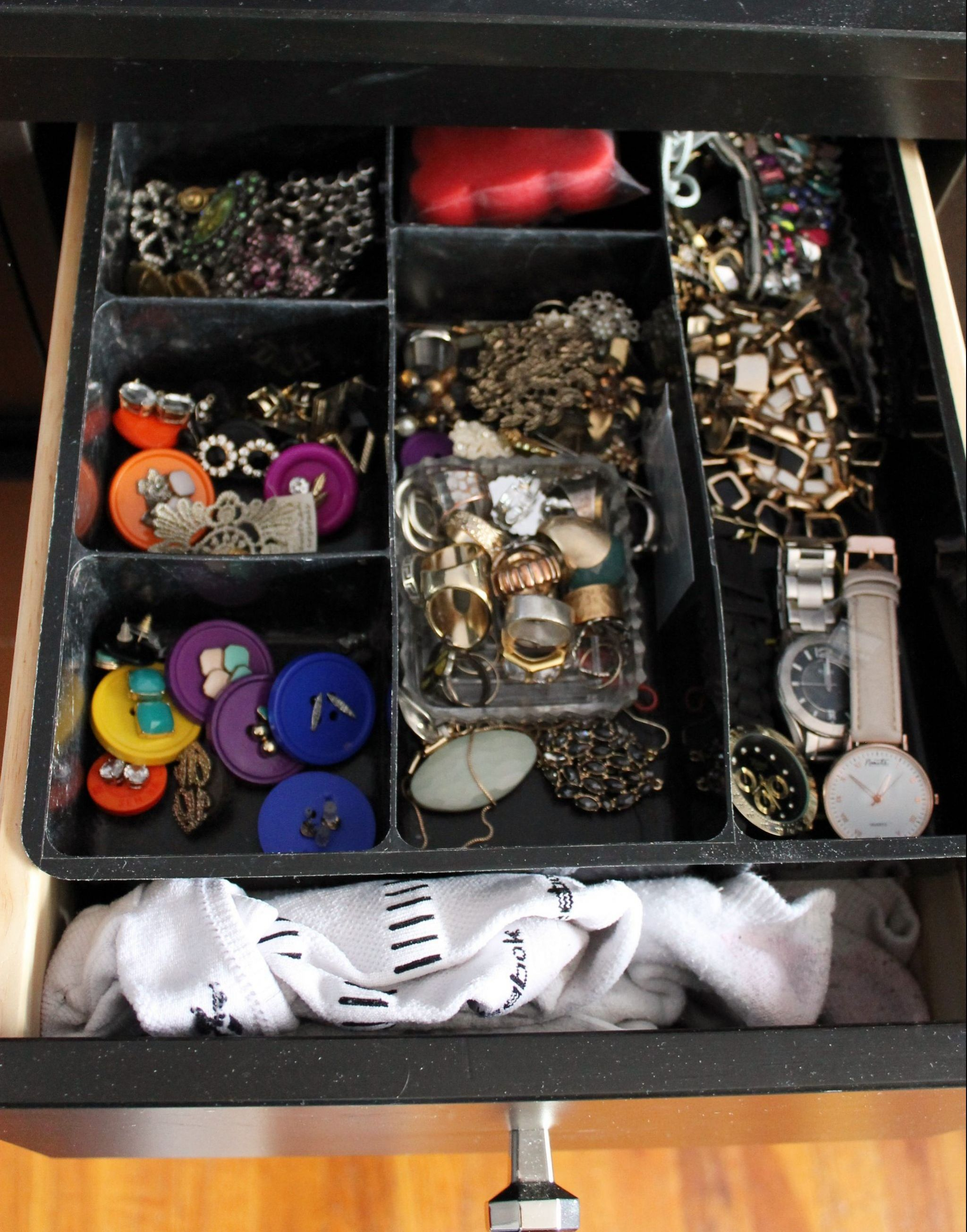 jewelry organization sock drawer