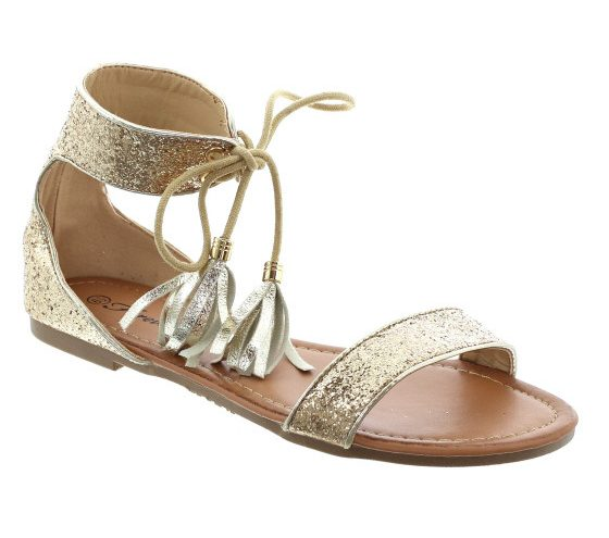 glitter lace up sandal