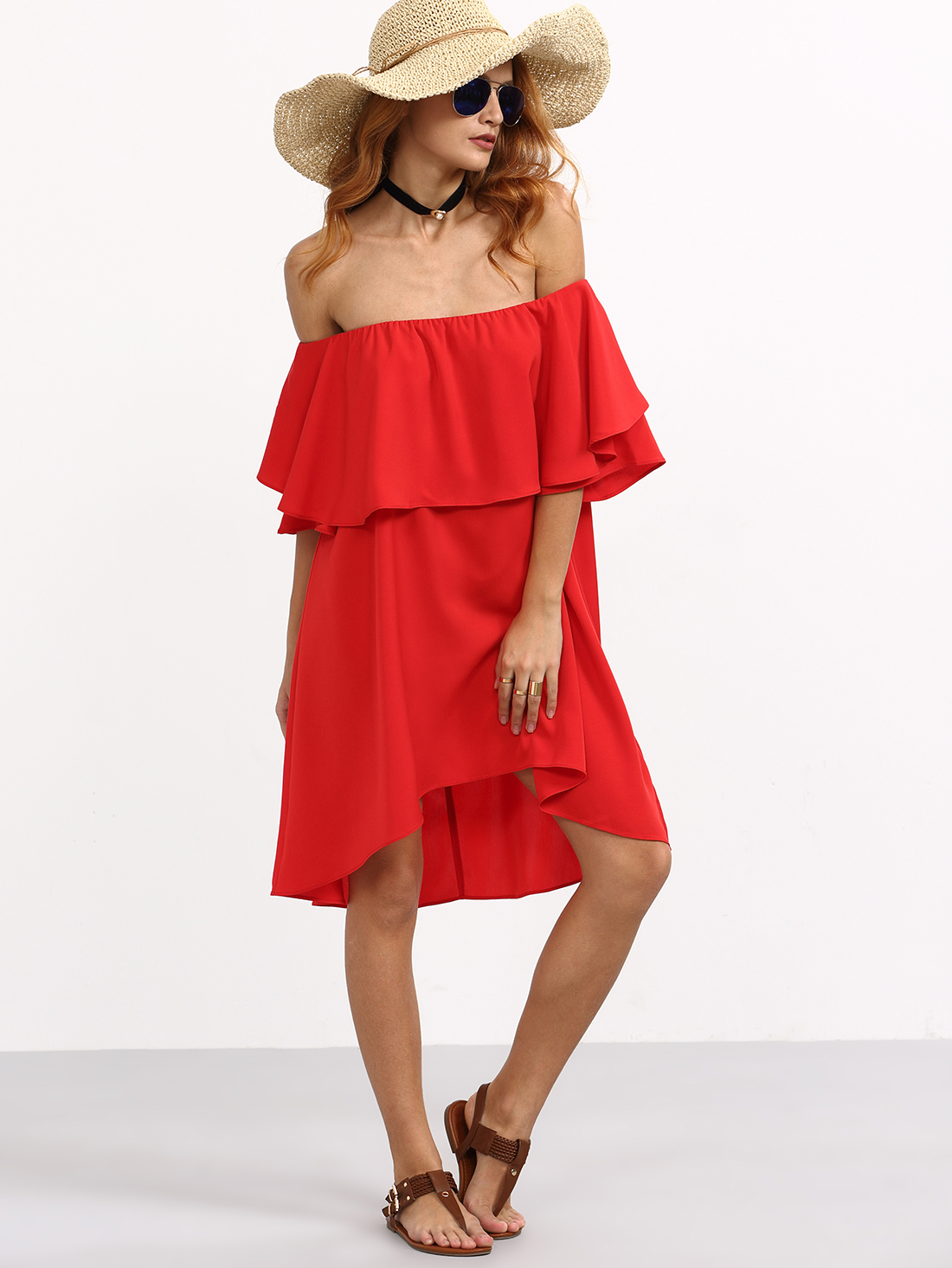 shein off the shoulder red dress
