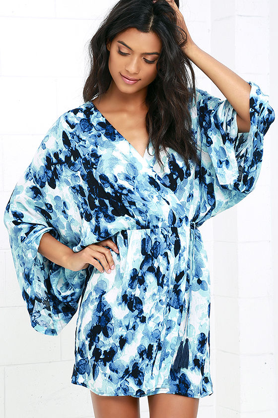 monet blue print wrap dress lulu's