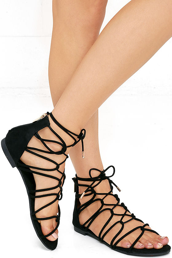 untamed heart black suede lace-up gladiator sandals lulu's