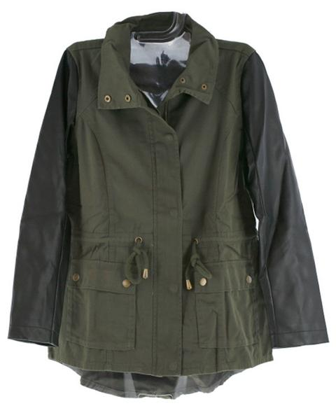 Cents of Style Harriet Leather Sleeve Military Jacket
