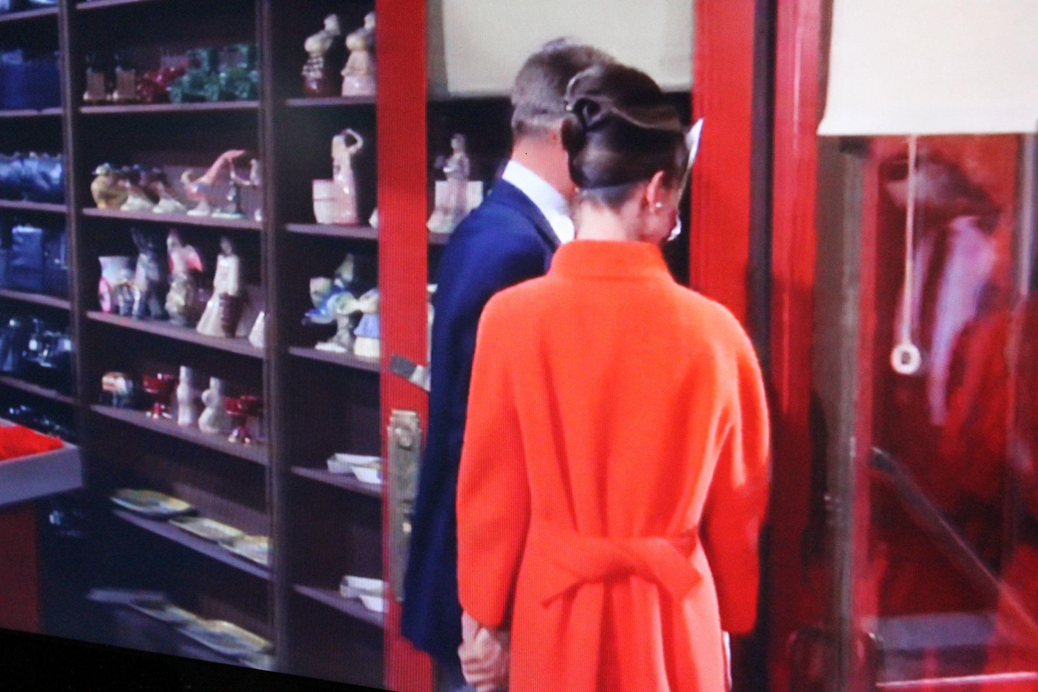 Breakfast at Tiffany's Audrey Hepburn Red Coat back
