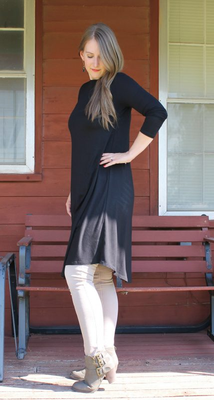 Friday Favorites Cents of Style Long Sleeve Swing Dress in black with skinny jeans and boots 2