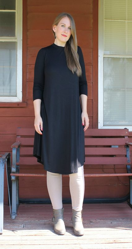 Friday Favorites Cents of Style Long Sleeve Swing Dress in black with skinny jeans and boots