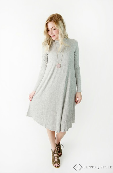 Friday Favorites Cents of Style Long Sleeve Swing Dress in grey
