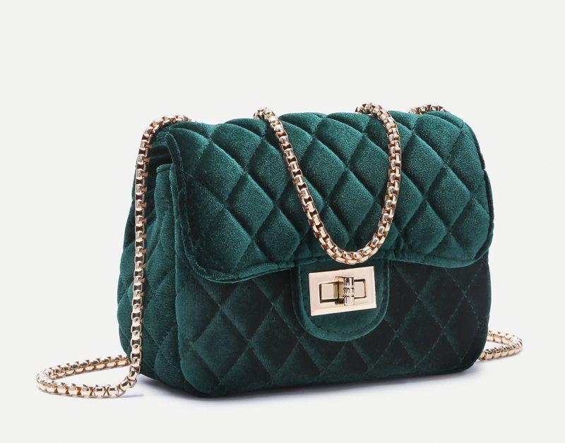 Under $40 Stylish Gift Guide SheIn Green Velvet Crossbody Bag