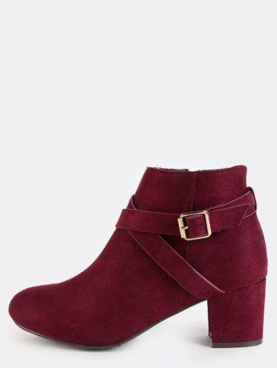 November Wishlist Almond Toe Suede Buckle Boots in Burgundy