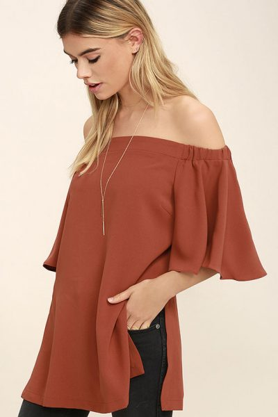 November Wishlist Stylish Mindset Rust Orange Off the Shoulder Top