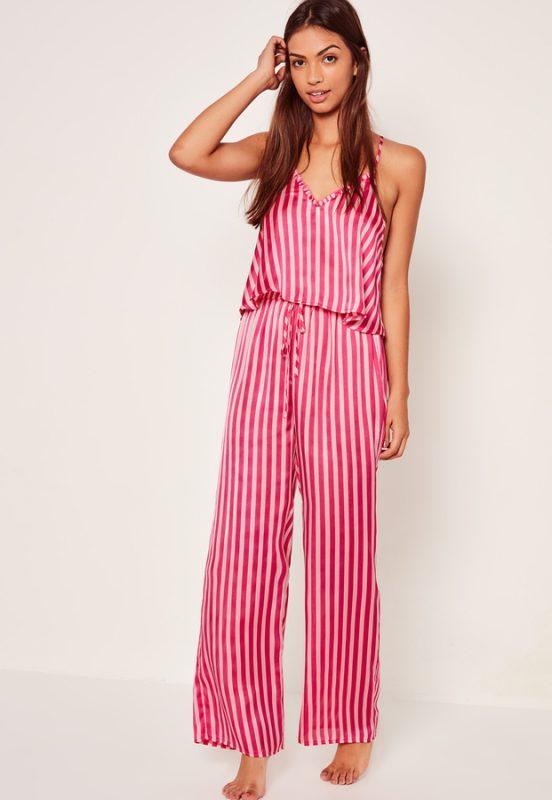 Stylish Sleepwear Trim Detail Striped Pyjama Set