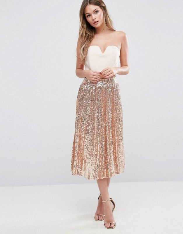Top 5 on ShopStyle in December TFNC Pleated Midi Skirt in All Over Sequin