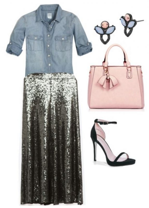 how to style a sequin skirt 4
