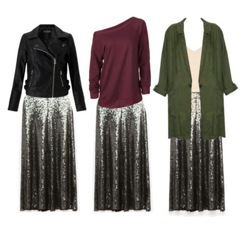 how to style a sequin skirt bonus looks