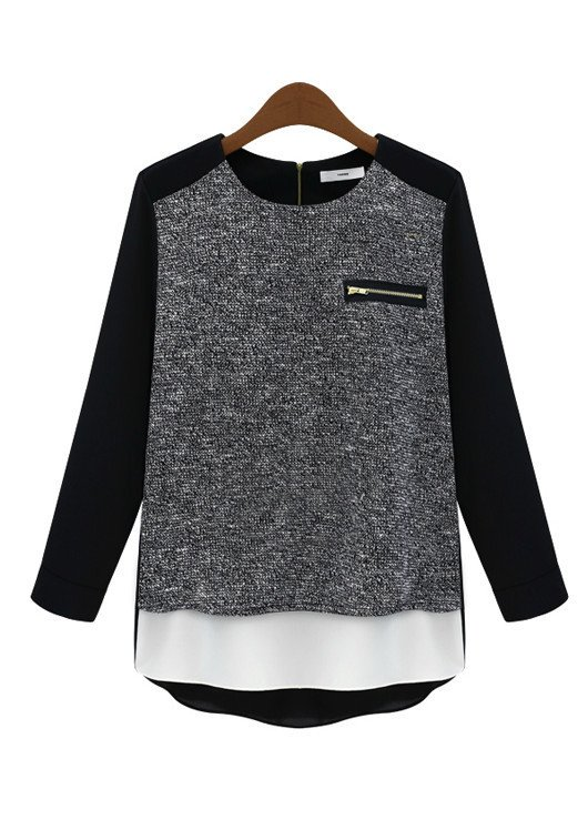 Goodnight Macaroon Favorites Under $50 Black Raglan Chiffon Jersey Blouse