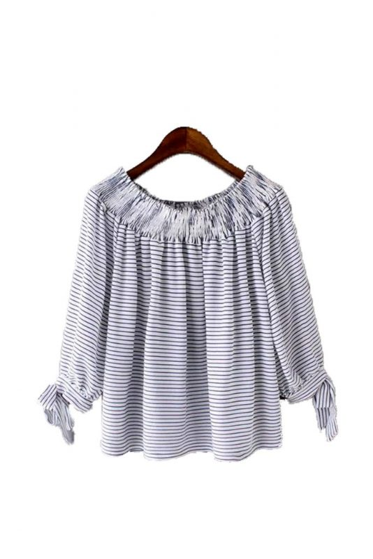 Goodnight Macaroon Favorites Under $50 Morgane Nautical Stripe Off the Shoulder Top
