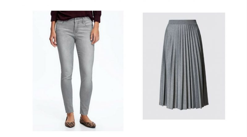 how to wear grey tips skirts and pants