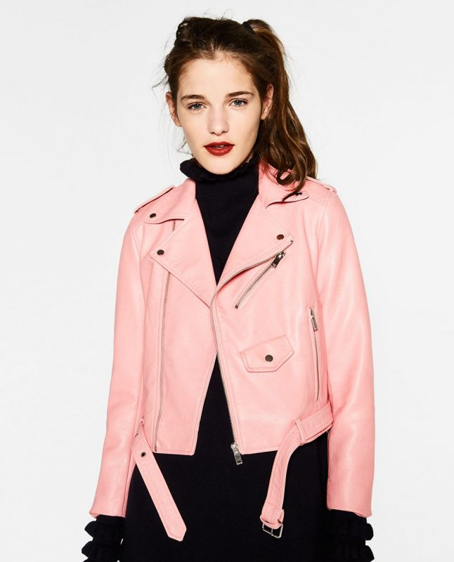Friday Favorites Zara pink leather jacket