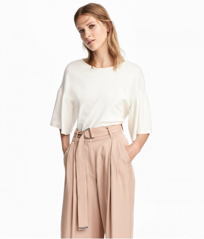 Under $50 favorites from H&M flouncy top and trousers