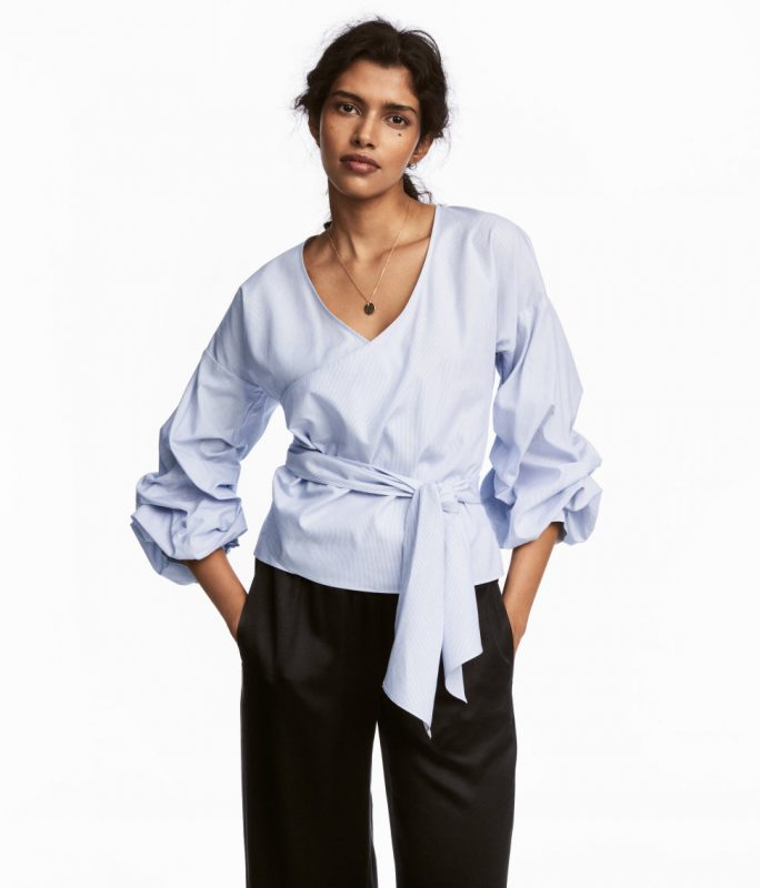 blue wrap top from H&M under $50