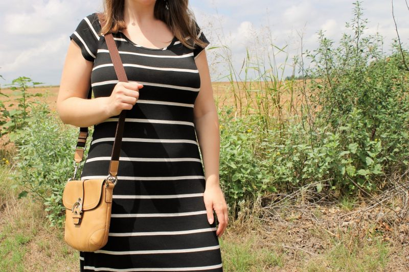 Black Beige Striped Maternity Dress from PinkBlush on JK Style