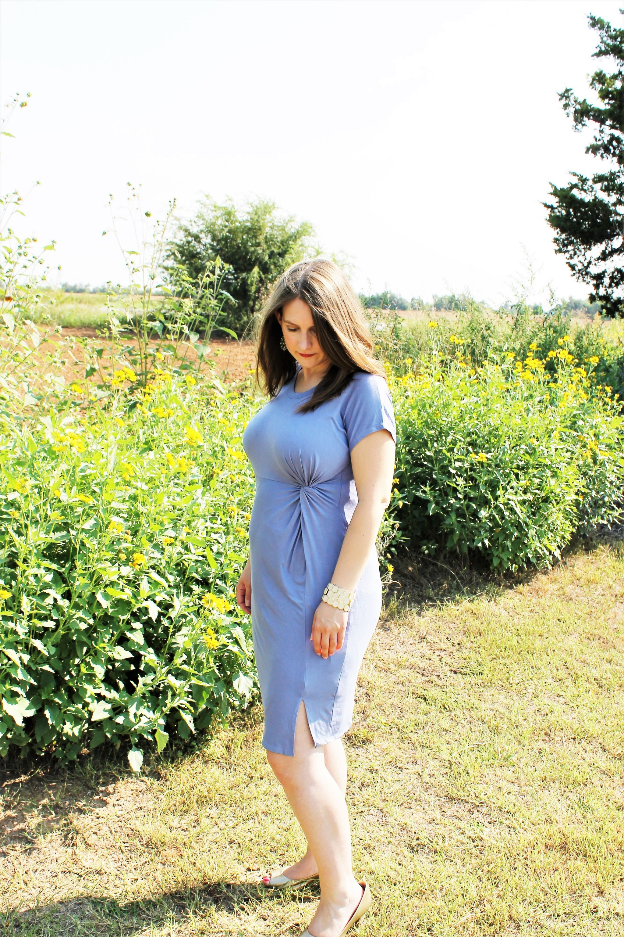 PinkBlush Periwinkle Knot Tie Maternity Dress on JK Style