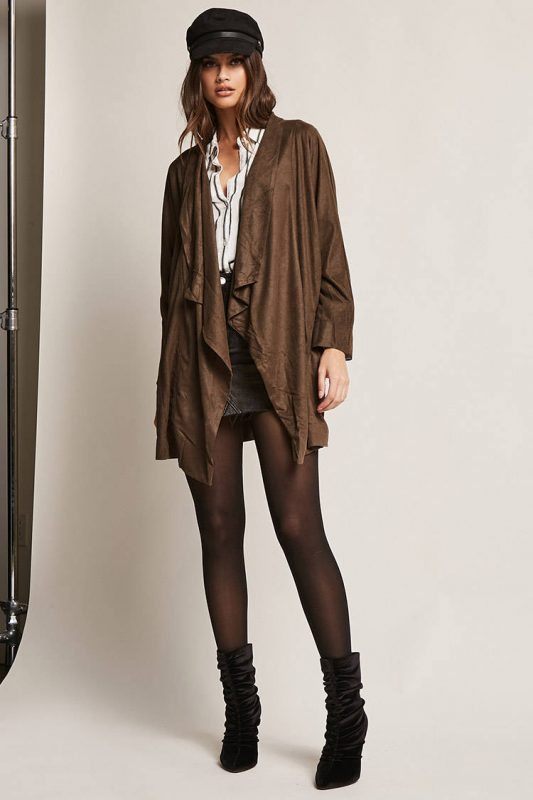 Faux suede draped cardigan - shopping Forever 21 when you're not 21