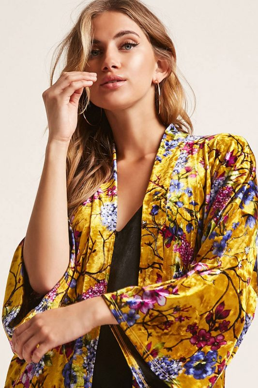 Floral velvet open front cardigan - shopping Forever 21 when you're not 21 - JK Style