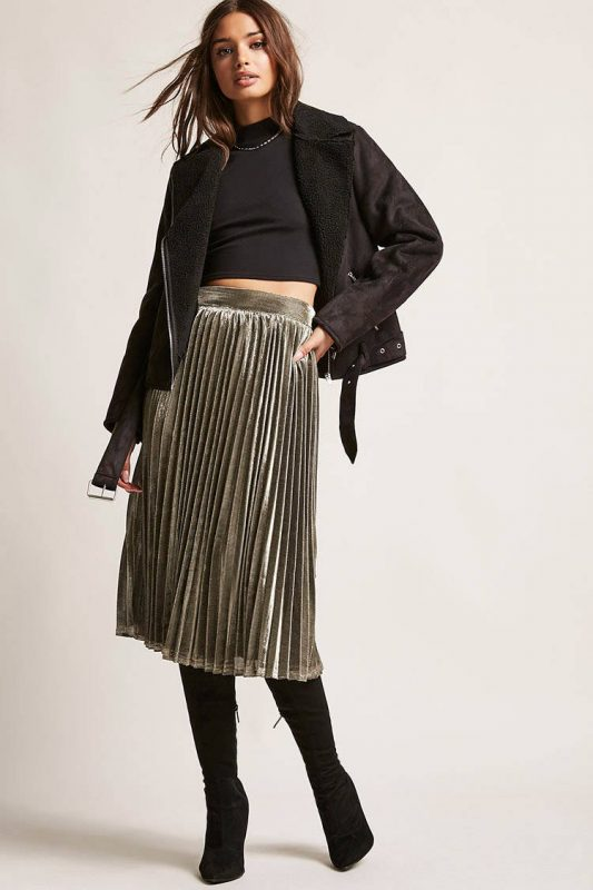 pleated metallic skirt - shopping Forever 21 when you're not 21 - JK Style
