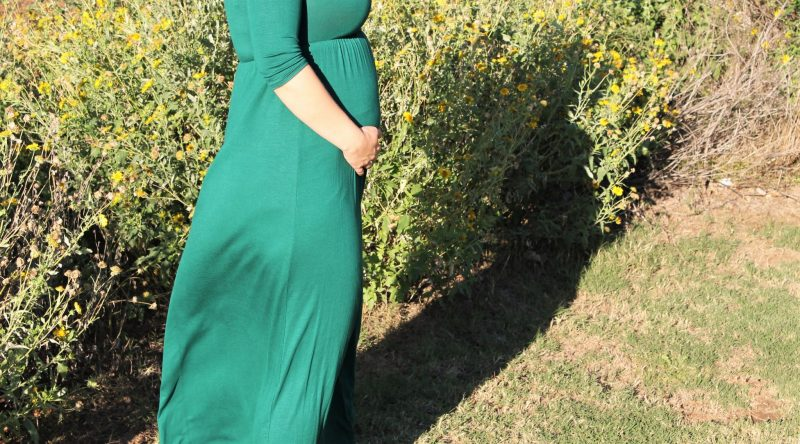 green maternity dress on JK Style